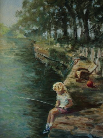 Patti Elliott,paintings,fishing,oil,art,original art